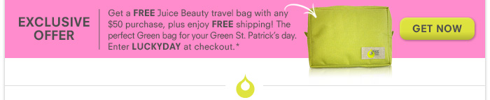 Get a FREE Juice Beauty travel bag with any $50 purchase, plus enjoy free shipping!