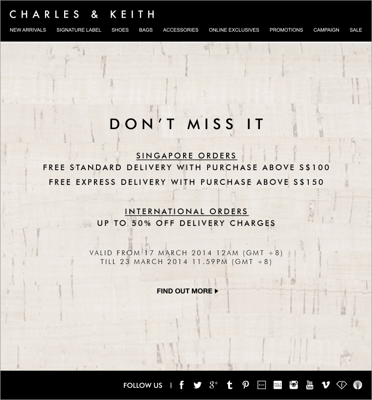 Charles & Keith March Shipping Promotion