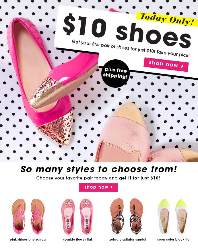 Get Your First Pair Of Shoes For $10 + Free Shipping!