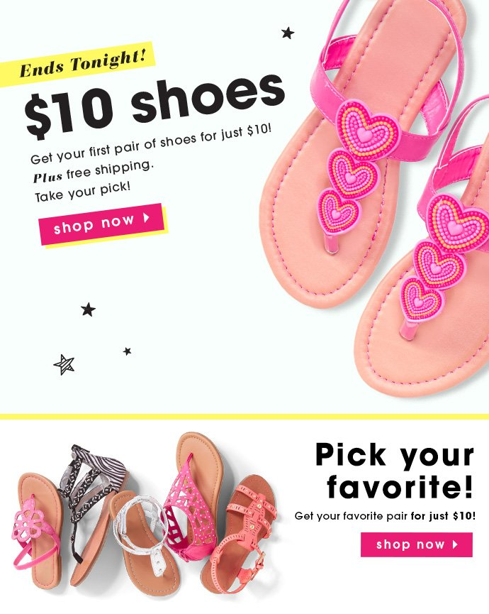 Get Your First Pair Of Shoes For $10 + Free Shipping! Ends Tonight!