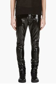 SAINT LAURENT Black Patent Slim Fit Pant for men