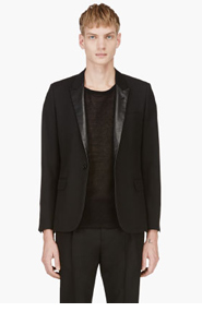 SAINT LAURENT Black Leather Lapel Blazer for men