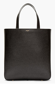 SAINT LAURENT BLACK pebbled LEATHER minimalist TOTE for men