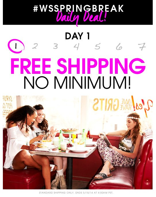 Spring Break Daily Deal - Day 1: FREE SHIPPING NO MINIMUM!