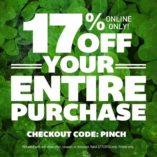 17% off your entire purchase Today only, Enter Code PINCH