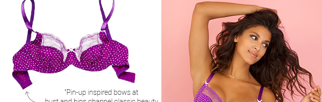 Features a popping polka print