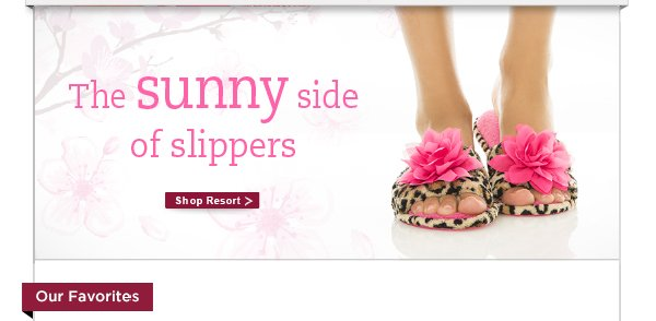 The sunny side of slippers.  Shop resort >