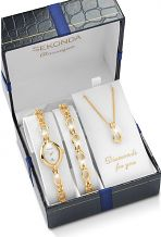 Ladies' Sekonda Classique Necklace Bracelet Gift Set Diamond