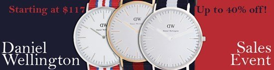 Save up to 40% during the Daniel Wellington watches sales event