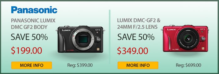 Adorama - Panasonic Lumix GF2 Body And Bundles