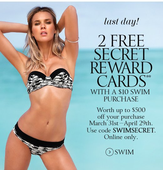 Last Day! 2 Secret Reward Cards With A $10 Swim Purchase