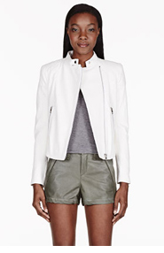 RAG & BONE Ivory Firebird Leather Biker Jacket for women