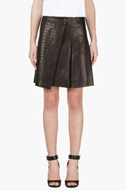 RAG & BONE Black Lambskin Croc-Embossed Edburg Skirt for women
