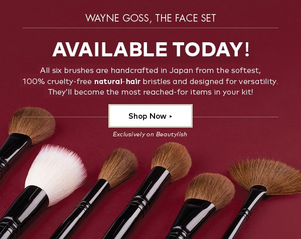 Wayne Goss, The Face Set. Available Now!  All six brushes are handcrafted in Japan from the softest, 100% cruelty-free natural-hair bristles and designed for versatility. They'll become the most reached-for items in your kit!