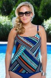 Women's Plus Size Swimwear - Christina Separates Check Mate Underwire Tankini Top