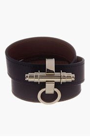 GIVENCHY Black Leather triple-Wrap Obsedia Bracelet for women