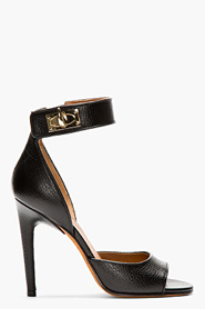 GIVENCHY BLACK TEXTURED LEATHER SHARKLOCK Heels for women