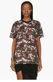 GIVENCHY Black Crewneck Floral Print T-Shirt for women