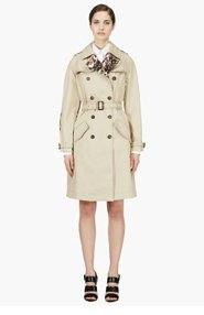 GIVENCHY Beige Floral Accent Trench Coat for women