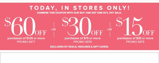 Save Up to $60 In Stores!