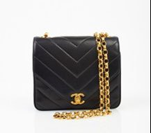 Chanel Black Chevron Stitch Shoulder Bag with Quilted Hardware