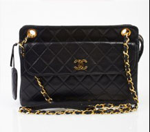 Chanel Black Quilted Double Chain Shoulder Bag with Front Pocket