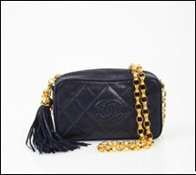Chanel Navy Quilted Tassel Bag Mini
