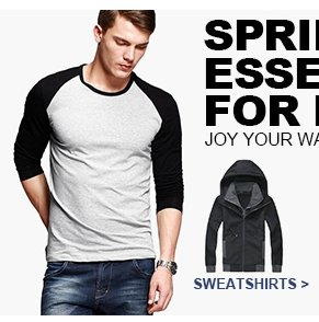 SPRING ESSENTIALS FOR MEN Joy Your Wallet Sweatshirts