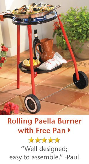 Rolling Paella Burner with Free Pan - 5 Star Rated - Well designed - easy to assemble. -Paul