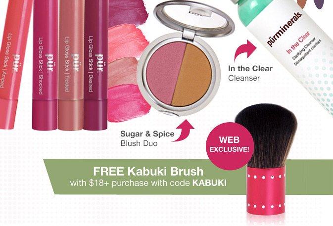 Get a Free Kabuki Brush with $18+ purchase with code KABUKI.