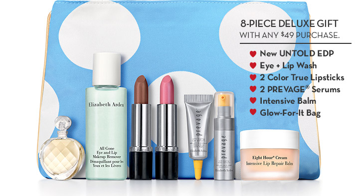 8-PIECE DELUXE GIFT WITH ANY $49 PURCHASE. New UNTOLD EDP. Eye + Lip Wash. 2 Color True Lipsticks. 2 PREVAGE® Serums. Intensive Balm. Glow-For-It-Bag.
