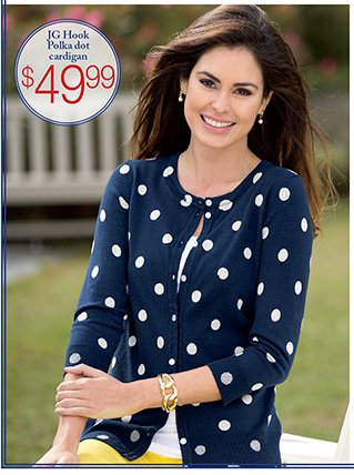 JG HOOK® polka dot cardigan $49.99
