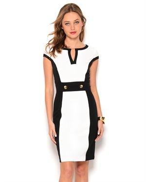 Sandra Darren Chevron Short Sleeve Dress