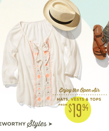HATS, VESTS & TOPS FROM $19.94