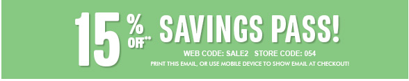 15% Off Savings Pass!