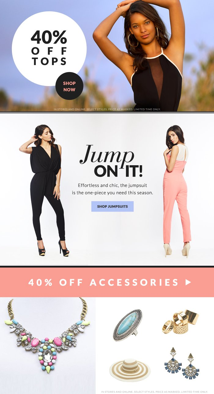 JUMPERS + 40% OFF TOPS + 40% OFF ACCESSORIES