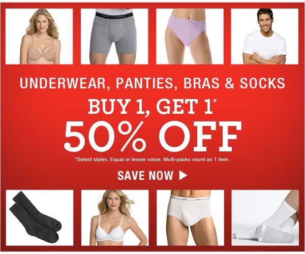 Shop Buy One Get One 50% off: Underwear, panties, bras & socks