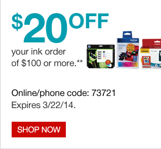 $20 off your ink order of $100 or more. Shop now.