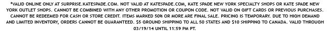 valid online only at surprise.katespade.com.