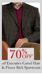 70% OFF* Executive Camel Hair Blazers & Fleece Rich Sportcoats