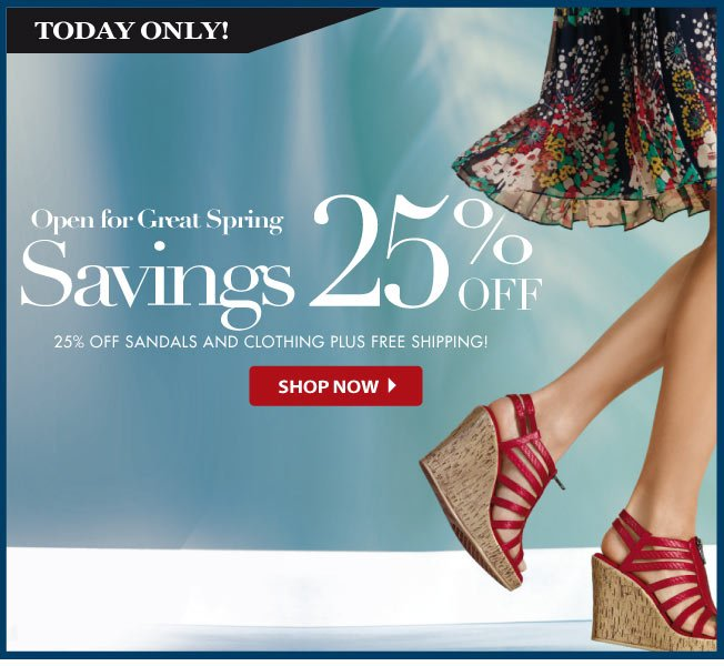 25% off Sandals and Apparel!