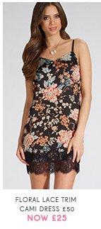 Floral Lace Trim Cami Dress