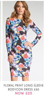 Floral Print Long Sleeve Bodycon Dress