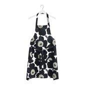 Pieni Unikko apron, White/Black/Olive