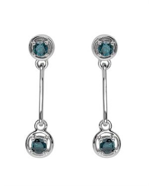 14K Gold 0.51 CTW Blue Diamond Modern Drop Earrings