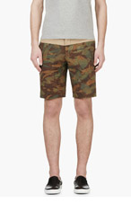 MONCLER Green & Khaki Camo Print Colorblocked Shorts for men