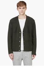 UMIT BENAN Green Y-Front Varied Knit Cardigan for men