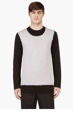 COMME DES GARÇONS HOMME PLUS Grey & Black Mesh Overlay Wool T-Shirt for men
