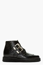 UNDERGROUND Black Croc-Embossed Leather Bowie Ankle Boots for men