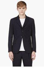 UMIT BENAN Navy Wool Pinstripe Blazer for men